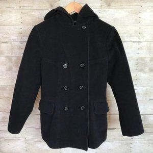 Sonoma Wool Blend Double Button Hooded Pea Coat Navy Blue/Black